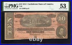T-68 1864 $10 Confederate Currency Pmg 53 CIVIL War Bill 2999