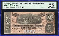T-68 1864 $10 Confederate Currency Pmg 55 CIVIL War Bill 67594