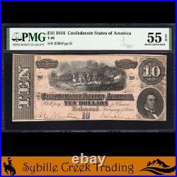 T-68 1864 $10 Confederate Currency Pmg 55 Epq CIVIL War Bill 27054