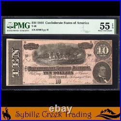 T-68 1864 $10 Confederate Currency Pmg 55 Epq CIVIL War Bill 67003