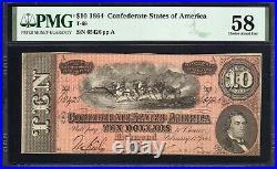 T-68 1864 $10 Confederate Currency Pmg 58 CIVIL War Bill 65426