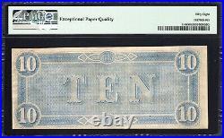 T-68 1864 $10 Confederate Currency Pmg 58 Epq CIVIL War Bill 67004