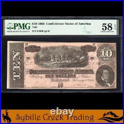 T-68 1864 $10 Confederate Currency Pmg 58 Epq CIVIL War Bill 67006
