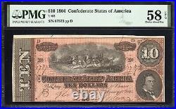 T-68 1864 $10 Confederate Currency Pmg 58 Epq CIVIL War Bill 67573
