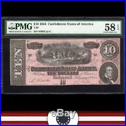 T-68 1864 $10 Confederate Currency Pmg 58 Epq CIVIL War Note 87995
