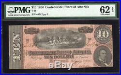 T-68 1864 $10 Confederate Currency Pmg 62 Epq CIVIL War Note 40542