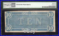 T-68 1864 $10 Confederate Currency Pmg 62 Epq CIVIL War Note 40574