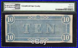 T-68 1864 $10 Confederate Currency Pmg 62 Epq CIVIL War Note 40575
