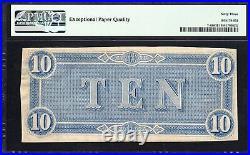 T-68 1864 $10 Confederate Currency Pmg 63 Epq CIVIL War Bill 18330