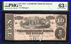 T-68 1864 $10 Confederate Currency Pmg 63 Epq CIVIL War Bill 18381