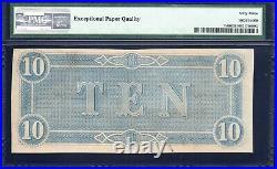 T-68 1864 $10 Confederate Currency Pmg 63 Epq CIVIL War Bill 40143