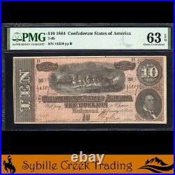 T-68 1864 $10 Confederate Currency Pmg 63 Epq CIVIL War Bill 46259
