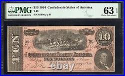 T-68 1864 $10 Confederate Currency Pmg 63 Epq CIVIL War Bill 62460