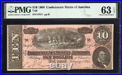 T-68 1864 $10 Confederate Currency Pmg 63 Epq CIVIL War Bill 62461