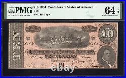 T-68 1864 $10 Confederate Currency Pmg 64 Epq CIVIL War Bill 14581