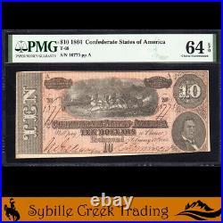 T-68 1864 $10 Confederate Currency Pmg 64 Epq CIVIL War Bill 16775