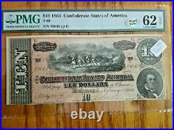 T-681864 $10 Dollar Confederate States Currency CIVIL War Note Pmg 62 Epq