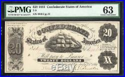 T-9 1861 $20 Confederate Currency CIVIL War Note Pmg 63 49455