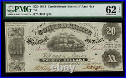 T-9 $20 1861 Confederate Currency CSA Civil War Graded PMG 62 EPQ