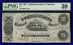 T-9 / PF-13 $20 1861 Confederate Currency CSA Civil War Graded PMG 30