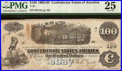 Texas Re-issued 1862 $100 Confederate States Currency CIVIL War Note T40 Pmg 25