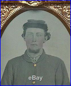 Tintype CIVIL War Confederate Soldier 1/9 Plate (blue Eyes)