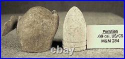 Two Civil War Confederate Explosive Bullets 82 Caliber Unlisted, not gardiner