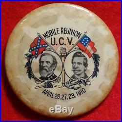 U. C. V. Mobile Alabama Reunion Pin 1910 CIVIL War Confederate Veterans Button