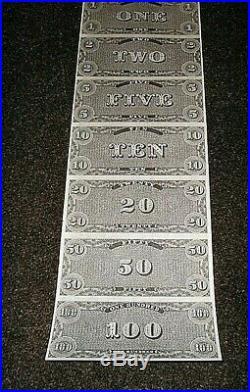 UNCUT CIVIL WAR CONFEDERATE MONEY NOTES RARE Mint Condition. DIRECTLY TAKEN REEL