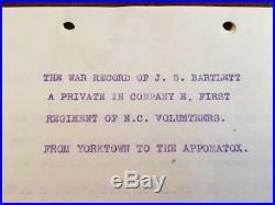 UNPUBLISHED Confederate Civil War Memoir, North Carolina Pvt 1st Regt Co. E, CSA