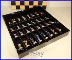US Civil War Chess Set BLACK & MAPLE WOOD STORAGE board 16 CONFEDERATE vs UNION