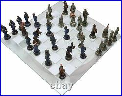 US Civil War Union North VS Confederate South Chess Pieces And Glass Board Set