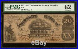 Unc 1861 $20 Dollar Confederate States Currency CIVIL War Note Money T-18 Pmg 62