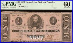 Unc 1862 $1 Dollar Confederate States Currency CIVIL War Note Money T-55 Pmg