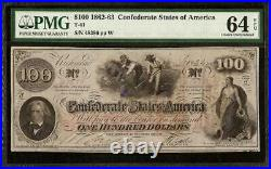 Unc 1862 $100 Confederate States Currency CIVIL War Hoer Note T-41 Pmg 64 Epq