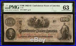 Unc 1862 $100 Dollar Bill Confederate States Note CIVIL War Money T-41 Pmg 63