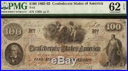 Unc 1862 $100 Dollar Bill Confederate States Note CIVIL War Money T41 Pmg 62 Epq