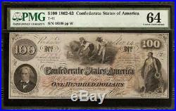 Unc 1862 $100 Dollar Confederate States Currency CIVIL War Note Money T41 Pmg 64