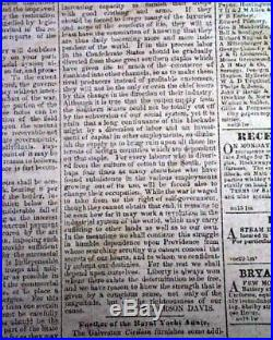 VERY Rare CONFEDERATE Memphis Civil War 1861 Newspaper with Publisher on the Run