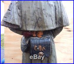 VTG Civil War Confederate Soldier Wood Carved Lamp by Dunning 1971 Working 35 T