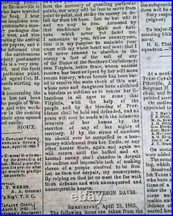 Very Rare CONFEDERATE Houston TX Texas with Jeff. Davis Civil War 1865 Newspaper