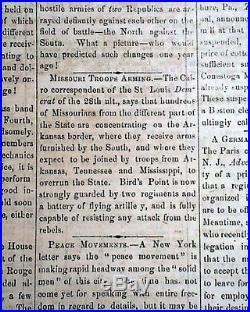 Very Rare CONFEDERATE West Baton Rouge LA Louisiana CIVIL WAR 1861 Old Newspaper