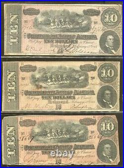 Vintage CIVIL War Paper Money1864 Confederate Currency $10 14 Note Lot