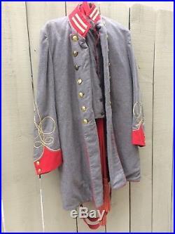 Vintage Civil War Reenactment Confederate Wool Artillery Officer Uniform