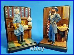 Vintage Lee and Grant Civil War Painted Doorstop Bookends Confederate Diorama