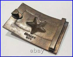 Vintage Texas Civil War Confederate Star San Antonio Brass Belt Buckle