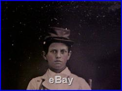 YOUNG Confederate withRifle, Odd Holsters, Early Kepi, Civil War 1/6 Tintype Photo